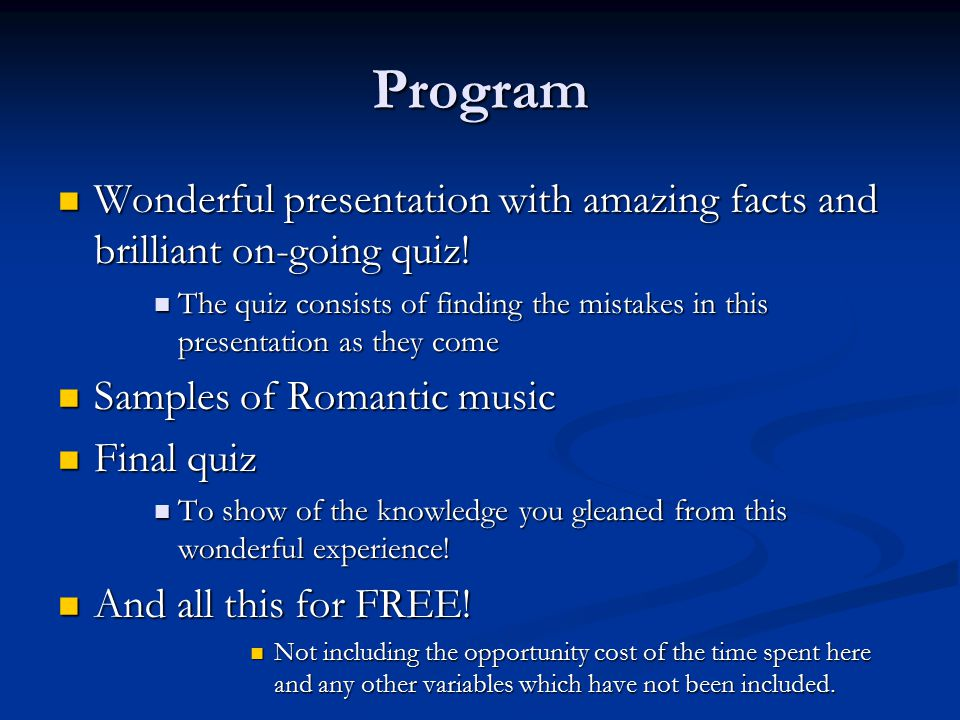 Program Wonderful Presentation With Amazing Facts And Brilliant On Going Quiz
