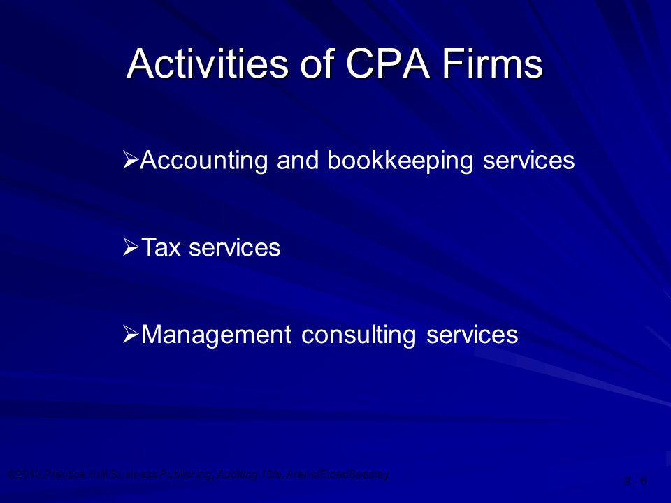 ©2010 Prentice Hall Business Publishing, Auditing 13/e, Arens/Elder/Beasley  Management consulting services  Tax services  Accounting and bookkeeping services Activities of CPA Firms