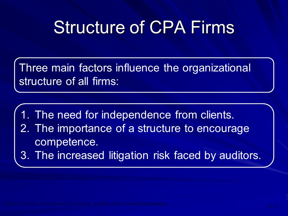 ©2010 Prentice Hall Business Publishing, Auditing 13/e, Arens/Elder/Beasley Structure of CPA Firms Three main factors influence the organizational structure of all firms: 1.The need for independence from clients.