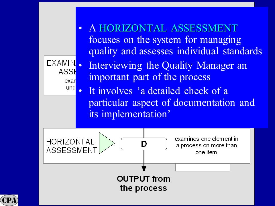 29 HORIZONTAL ASSESSMENTA HORIZONTAL ASSESSMENT focuses on the system for managing quality and assesses individual standards Interviewing the Quality Manager an important part of the process It involves 'a detailed check of a particular aspect of documentation and its implementation'