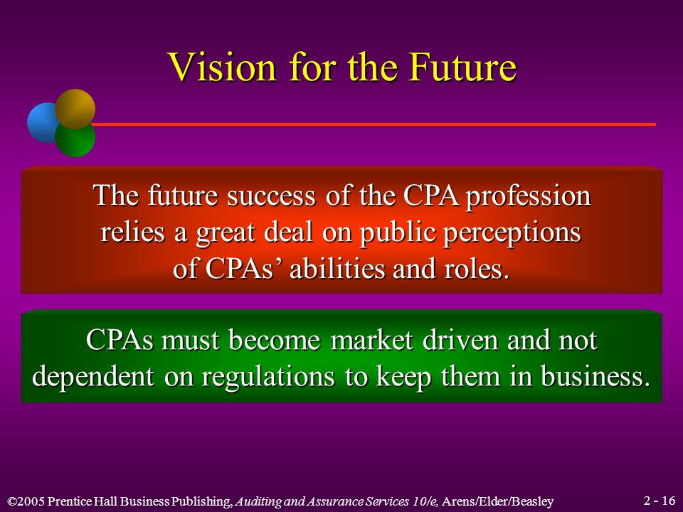 ©2005 Prentice Hall Business Publishing, Auditing and Assurance Services 10/e, Arens/Elder/Beasley Vision for the Future The AICPA has established the CPA Vision Project to provide a core purpose and a vision for the CPA profession in the year 2011 and beyond.