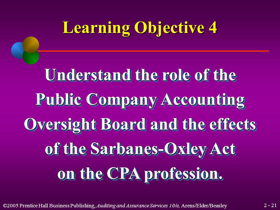 ©2005 Prentice Hall Business Publishing, Auditing and Assurance Services 10/e, Arens/Elder/Beasley Other AICPA Functions Supports research by its own staff and provides grants to others Writes and grades the CPA examination Provides seminars and education in a variety of subject matters
