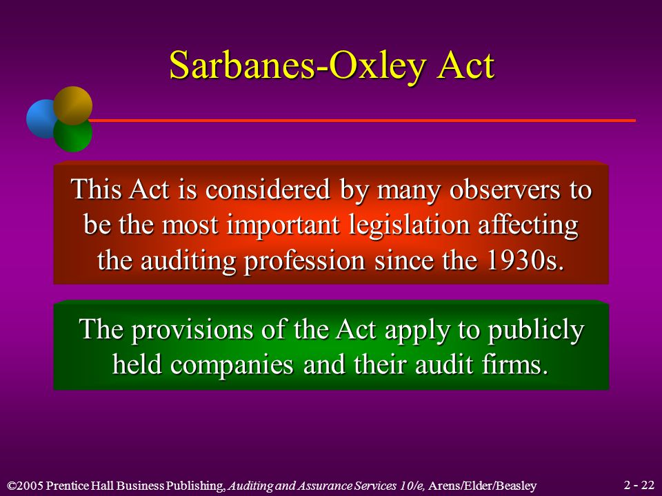 ©2005 Prentice Hall Business Publishing, Auditing and Assurance Services 10/e, Arens/Elder/Beasley Learning Objective 4 Understand the role of the Public Company Accounting Oversight Board and the effects of the Sarbanes-Oxley Act on the CPA profession.