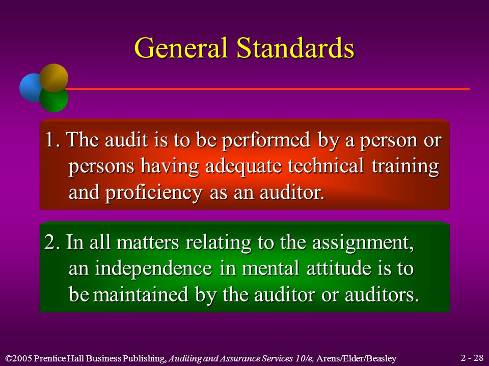 ©2005 Prentice Hall Business Publishing, Auditing and Assurance Services 10/e, Arens/Elder/Beasley Learning Objective 6 Use generally accepted auditing standards as a basis for further study.