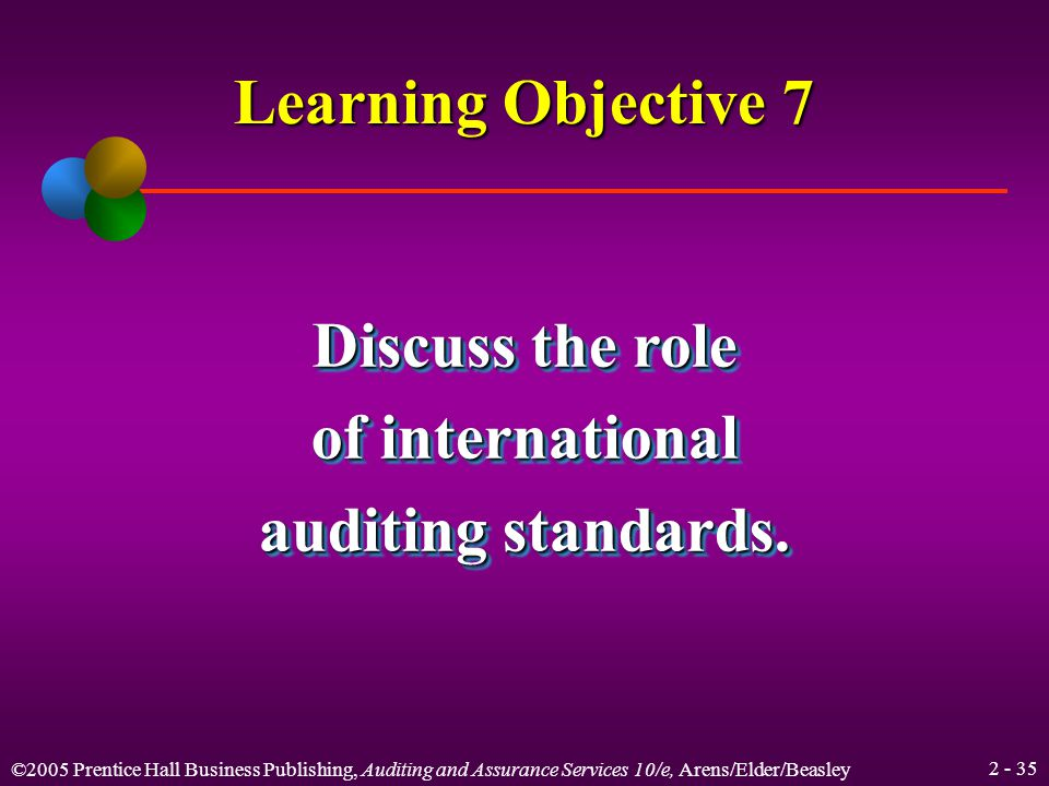 ©2005 Prentice Hall Business Publishing, Auditing and Assurance Services 10/e, Arens/Elder/Beasley Summary of General Standards Generally Accepted Auditing Standards General 1.