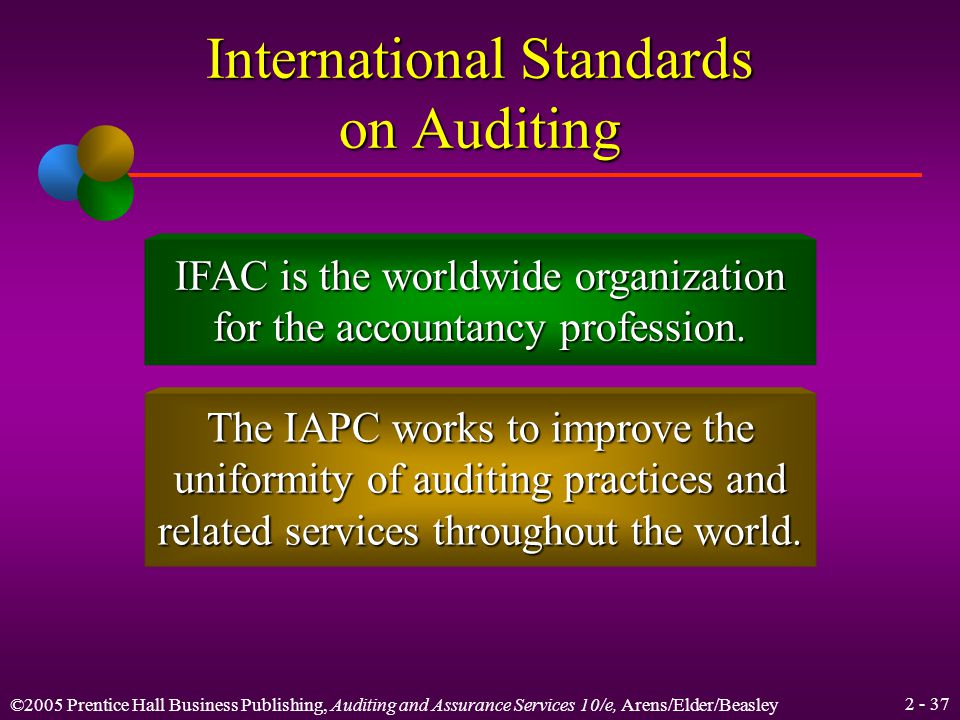 ©2005 Prentice Hall Business Publishing, Auditing and Assurance Services 10/e, Arens/Elder/Beasley International Standards on Auditing International Standards on Auditing (ISAs) are issued by the International Auditing Practice Committee of the International Federation of Accountants (IFAC).