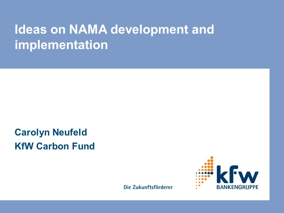 Ideas on NAMA development and implementation Carolyn Neufeld KfW Carbon Fund