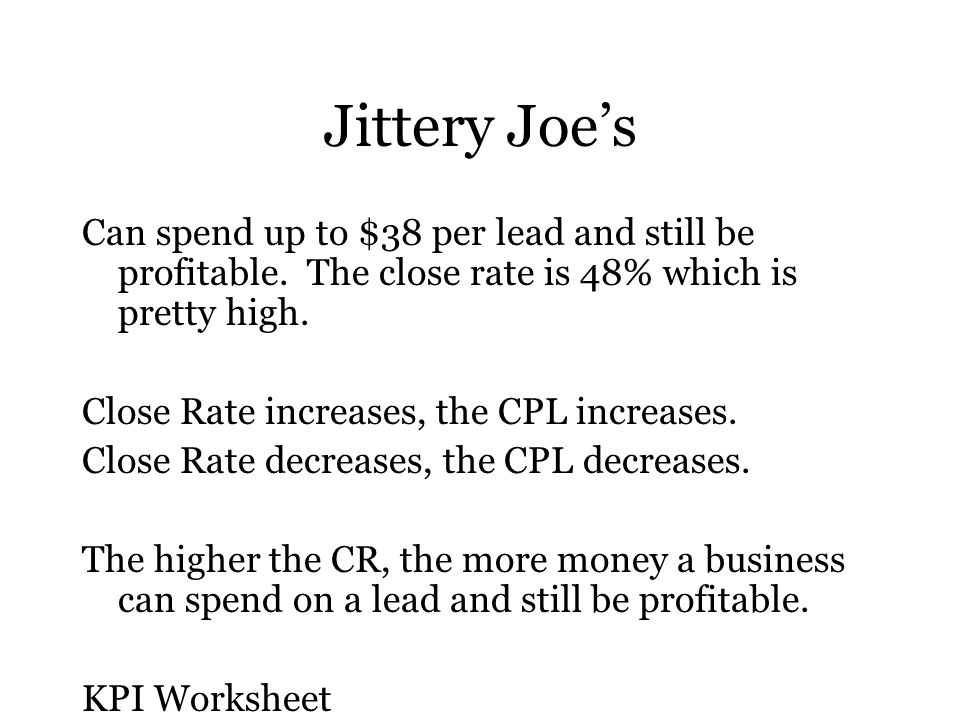 Jittery Joe's Can spend up to $38 per lead and still be profitable.