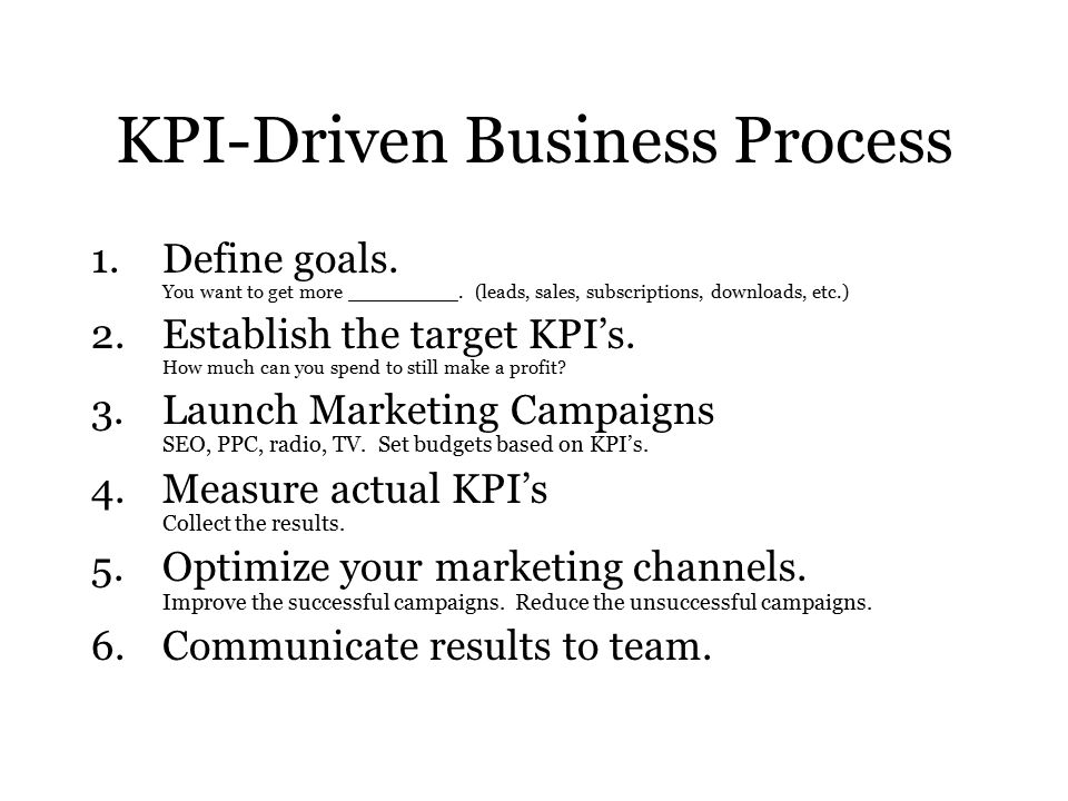 KPI-Driven Business Process 1.Define goals. You want to get more _________.
