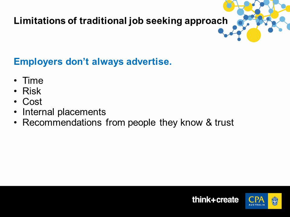 Limitations of traditional job seeking approach Employers don't always advertise.