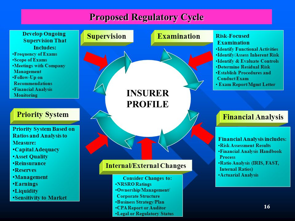 16 Proposed Regulatory Cycle INSURER PROFILE Internal/External Changes Examination Priority System Supervision Consider Changes to: NRSRO Ratings Ownership/Management/ Corporate Structure Business Strategy/Plan CPA Report or Auditor Legal or Regulatory Status Risk-Focused Examination Identify Functional Activities Identify/Assess Inherent Risk Identify & Evaluate Controls Determine Residual Risk Establish Procedures and Conduct Exam Exam Report/Mgmt Letter Develop Ongoing Supervision That Includes: Frequency of Exams Scope of Exams Meetings with Company Management Follow-Up on Recommendations Financial Analysis Monitoring Priority System Based on Ratios and Analysis to Measure: Capital Adequacy Asset Quality Reinsurance Reserves Management Earnings Liquidity Sensitivity to Market Financial Analysis includes : Risk Assessment Results Financial Analysis Handbook Process Ratio Analysis (IRIS, FAST, Internal Ratios) Actuarial Analysis Financial Analysis