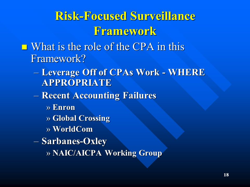 18 Risk-Focused Surveillance Framework What is the role of the CPA in this Framework.