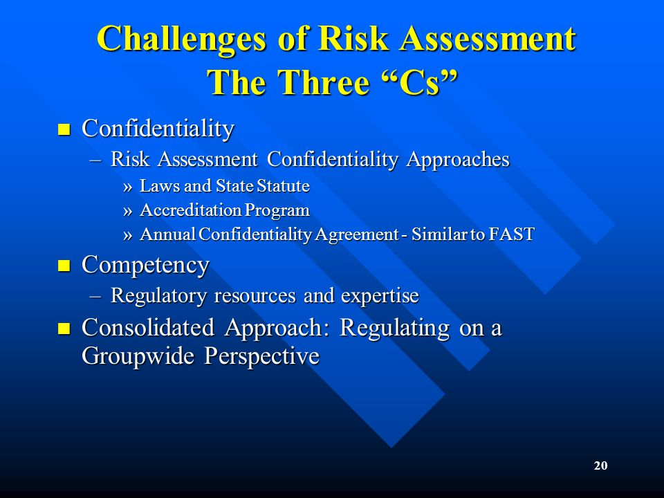 20 Challenges of Risk Assessment The Three Cs Challenges of Risk Assessment The Three Cs Confidentiality Confidentiality –Risk Assessment Confidentiality Approaches »Laws and State Statute »Accreditation Program »Annual Confidentiality Agreement - Similar to FAST Competency Competency –Regulatory resources and expertise Consolidated Approach: Regulating on a Groupwide Perspective Consolidated Approach: Regulating on a Groupwide Perspective