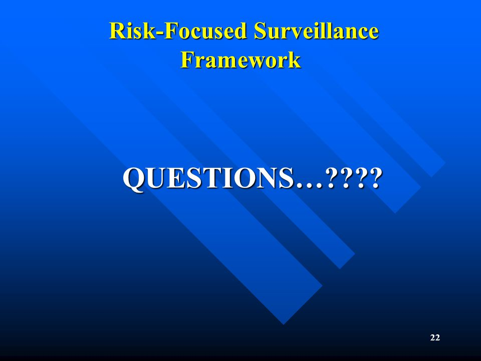 22 Risk-Focused Surveillance Framework Risk-Focused Surveillance Framework QUESTIONS…