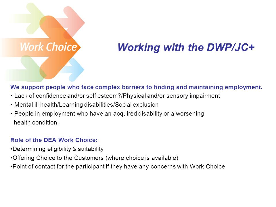 Working with the DWP/JC+ We support people who face complex barriers to finding and maintaining employment.