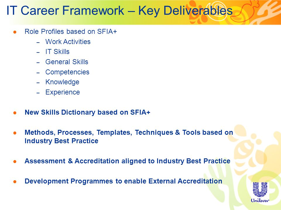 IT Career Framework – Key Deliverables Role Profiles based on SFIA+ – Work Activities – IT Skills – General Skills – Competencies – Knowledge – Experience New Skills Dictionary based on SFIA+ Methods, Processes, Templates, Techniques & Tools based on Industry Best Practice Assessment & Accreditation aligned to Industry Best Practice Development Programmes to enable External Accreditation