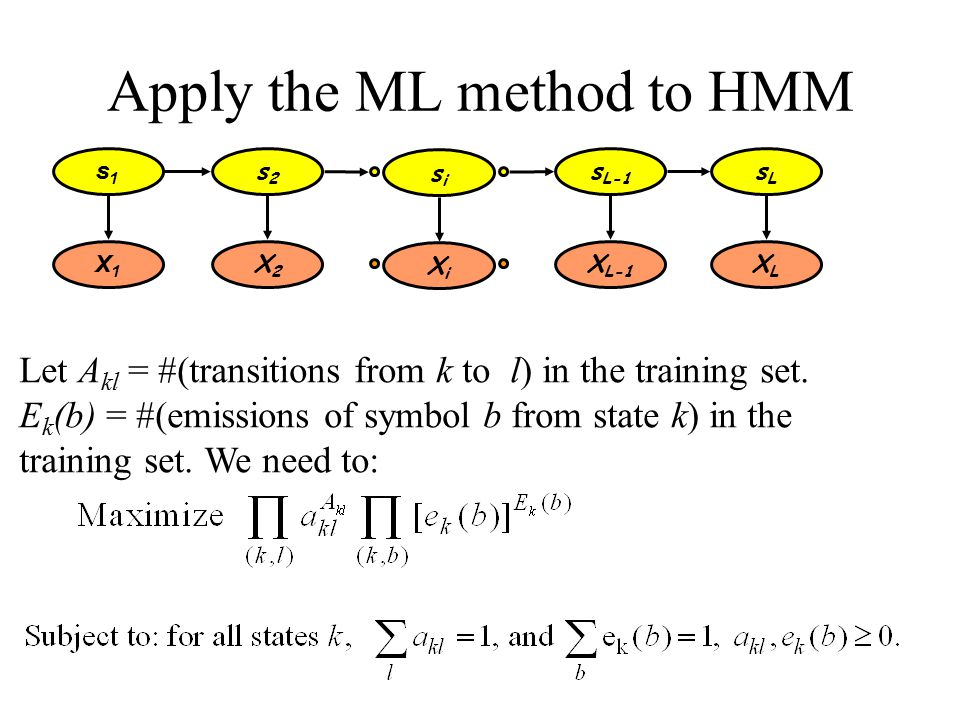 Apply the ML method to HMM Let A kl = #(transitions from k to l) in the training set.