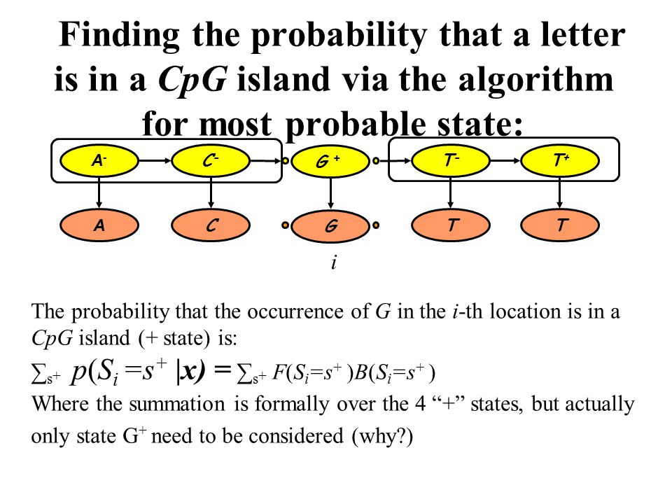 Finding the probability that a letter is in a CpG island via the algorithm for most probable state: The probability that the occurrence of G in the i-th location is in a CpG island (+ state) is: ∑ s + p(S i =s + |x) = ∑ s + F(S i =s + )B(S i =s + ) Where the summation is formally over the 4 + states, but actually only state G + need to be considered (why ) A-A- C-C- T-T- T+T+ A CTT G + G i