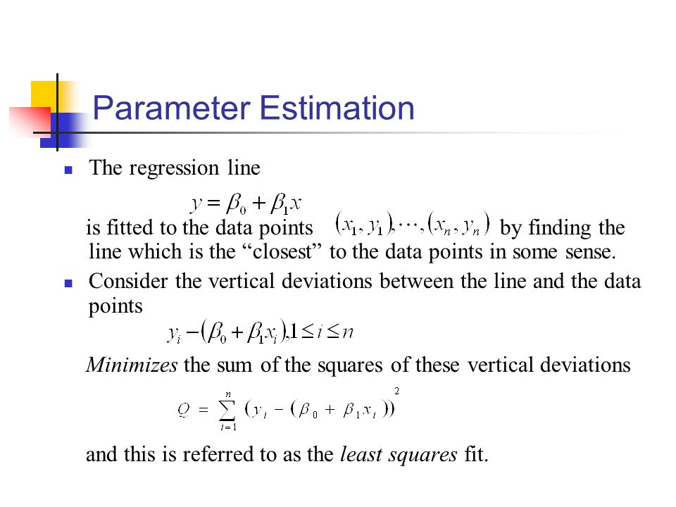 Parameter Estimation The regression line is fitted to the data points by finding the line which is the closest to the data points in some sense.