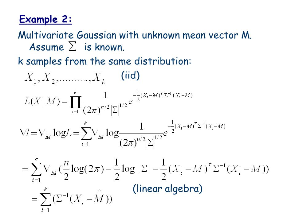 Example 2: Multivariate Gaussian with unknown mean vector M.