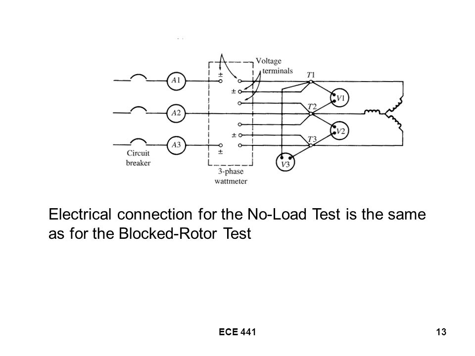 ECE Electrical connection for the No-Load Test is the same as for the Blocked-Rotor Test