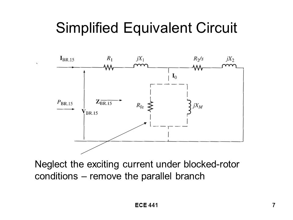 7 Simplified Equivalent Circuit Neglect the exciting current under blocked-rotor conditions – remove the parallel branch