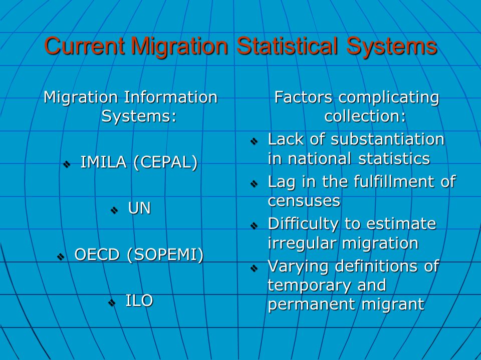 Current Migration Statistical Systems Migration Information Systems:  IMILA (CEPAL)  UN  OECD (SOPEMI)  ILO Factors complicating collection:  Lack of substantiation in national statistics  Lag in the fulfillment of censuses  Difficulty to estimate irregular migration  Varying definitions of temporary and permanent migrant
