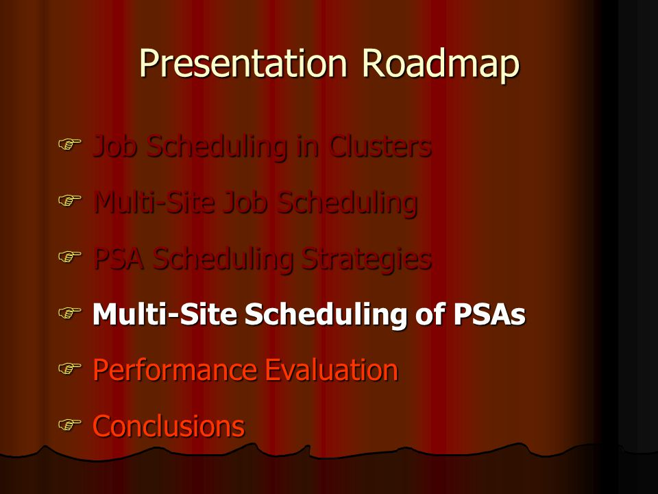 Presentation Roadmap  Job Scheduling in Clusters  Multi-Site Job Scheduling  PSA Scheduling Strategies  Multi-Site Scheduling of PSAs  Performance Evaluation  Conclusions