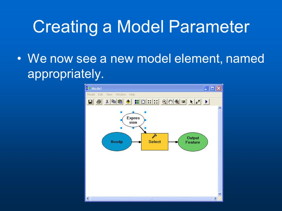 Creating a Model Parameter We now see a new model element, named appropriately.