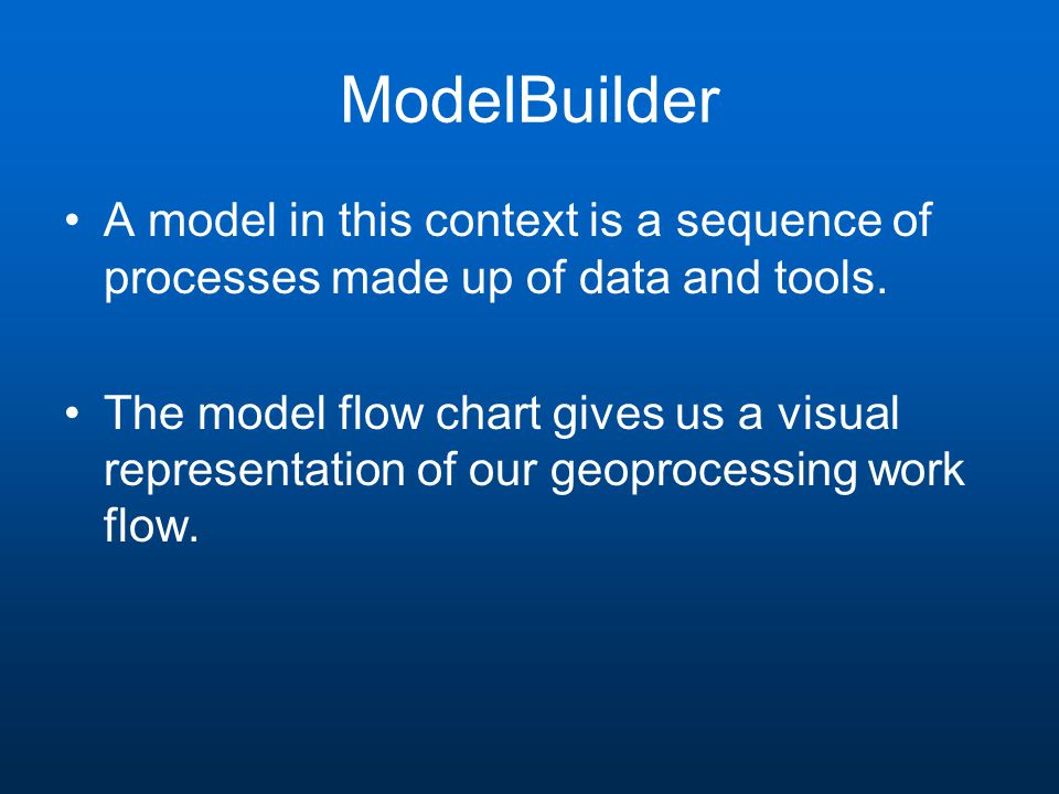 ModelBuilder A model in this context is a sequence of processes made up of data and tools.