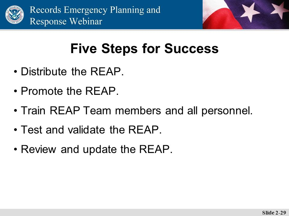 Essential Records Webinar Five Steps for Success Distribute the REAP.