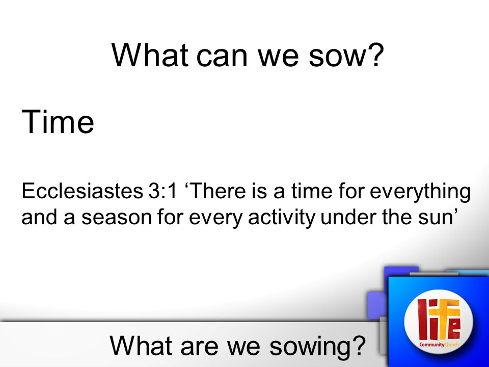 What are we sowing. What can we sow.