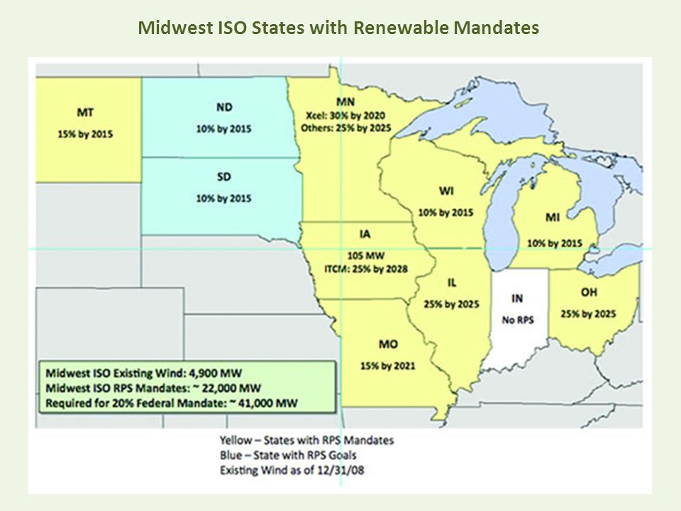 Midwest ISO States with Renewable Mandates
