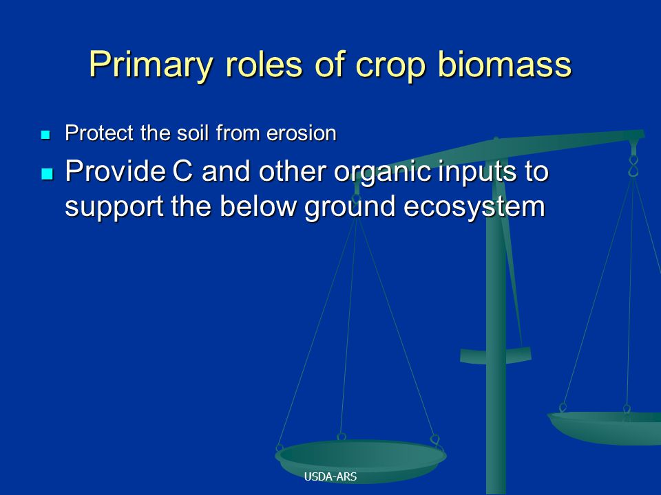USDA-ARS Primary roles of crop biomass Protect the soil from erosion Protect the soil from erosion Provide C and other organic inputs to support the below ground ecosystem Provide C and other organic inputs to support the below ground ecosystem