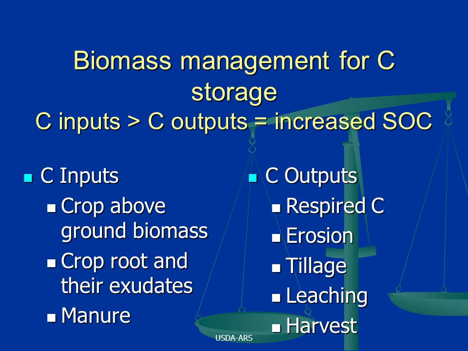 USDA-ARS Biomass management for C storage C inputs > C outputs = increased SOC C Inputs C Inputs Crop above ground biomass Crop above ground biomass Crop root and their exudates Crop root and their exudates Manure Manure C Outputs C Outputs Respired C Respired C Erosion Erosion Tillage Tillage Leaching Leaching Harvest Harvest