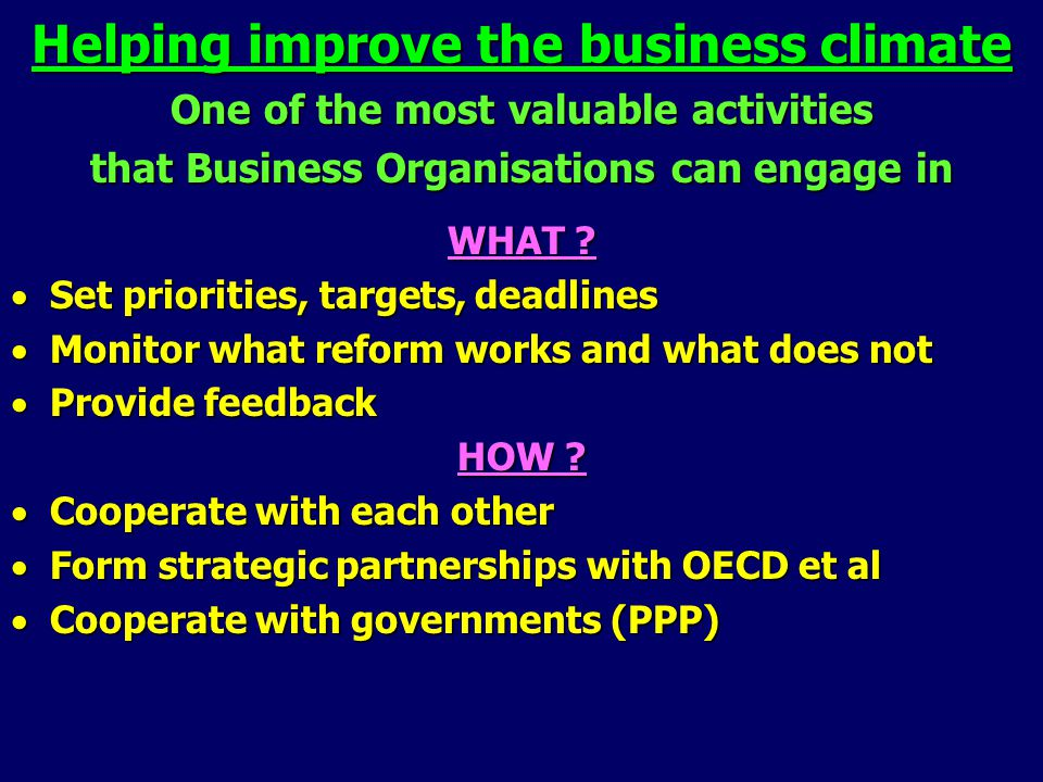 Helping improve the business climate One of the most valuable activities that Business Organisations can engage in WHAT .