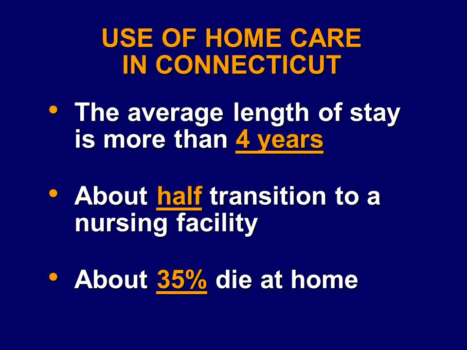 USE OF HOME CARE IN CONNECTICUT The average length of stay is more than 4 years The average length of stay is more than 4 years About half transition to a nursing facility About half transition to a nursing facility About 35% die at home About 35% die at home