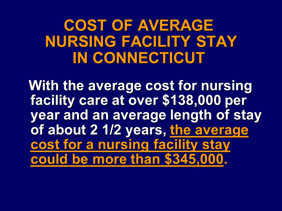 COST OF AVERAGE NURSING FACILITY STAY IN CONNECTICUT With the average cost for nursing facility care at over $138,000 per year and an average length of stay of about 2 1/2 years,the average cost for a nursing facility stay could be more than $345,000.