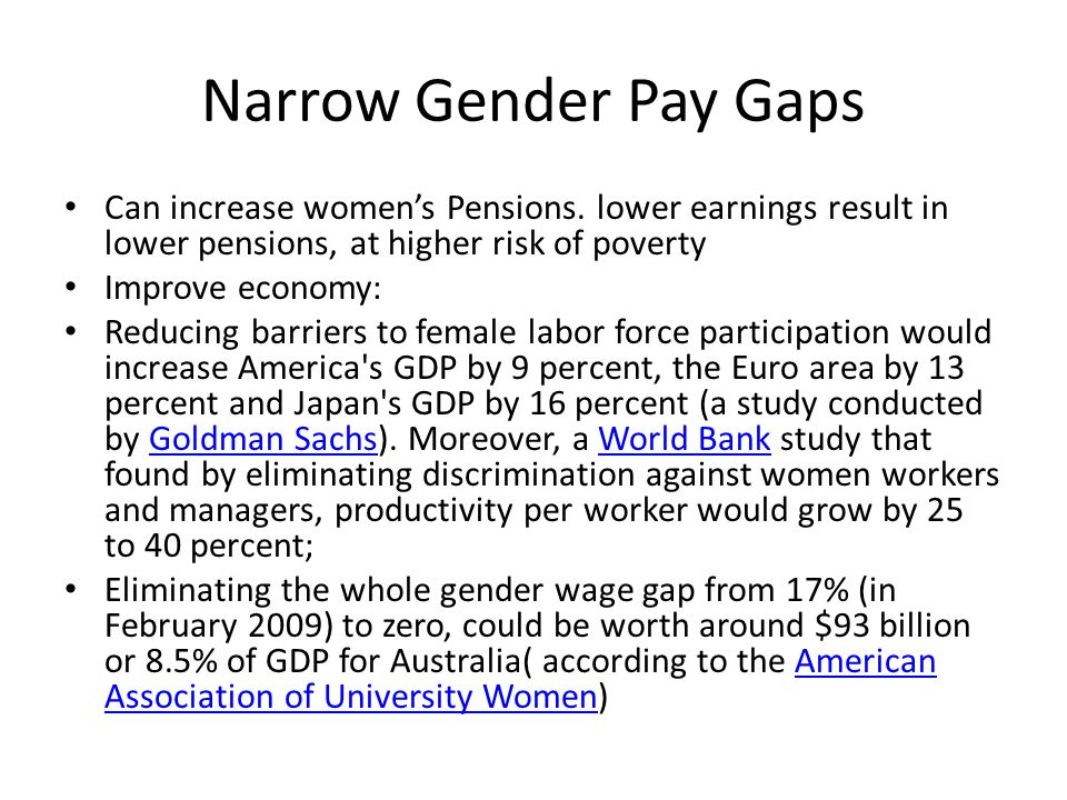 Narrow Gender Pay Gaps Can increase women's Pensions.