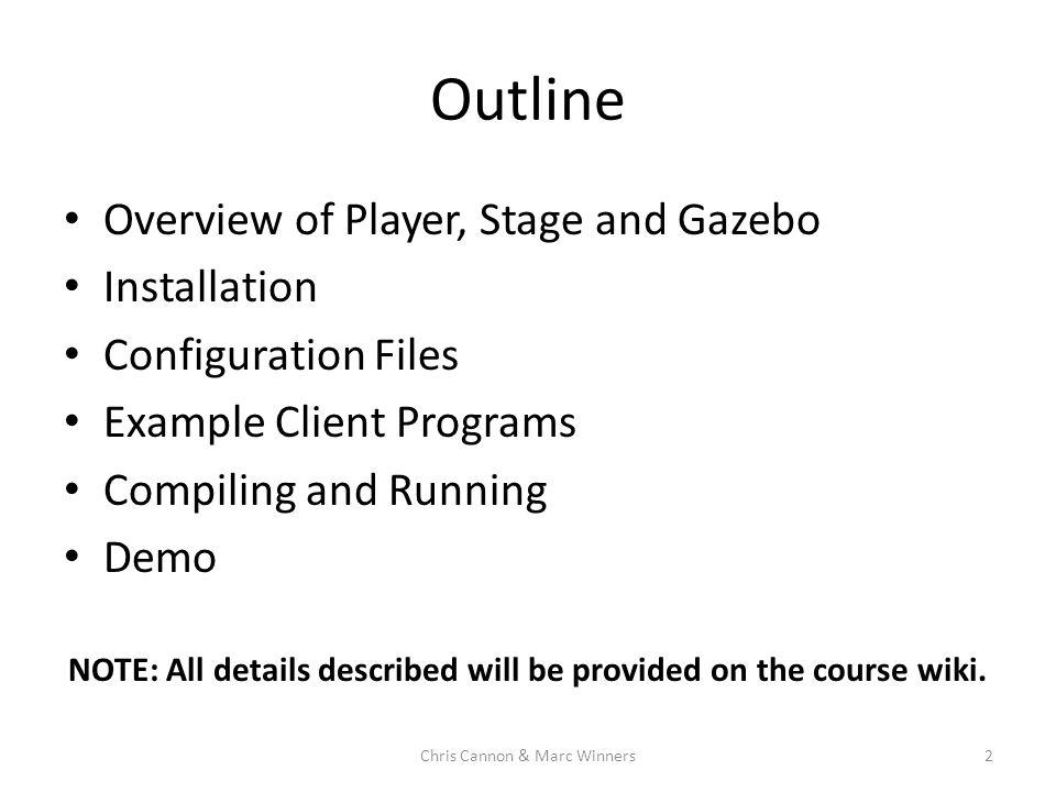Player/Stage/Gazebo CS 485/511 Drexel University Chris