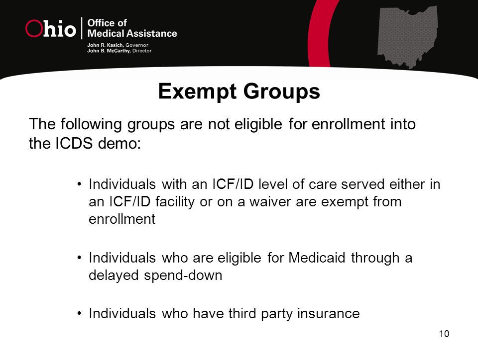 Exempt Groups The following groups are not eligible for enrollment into the ICDS demo: Individuals with an ICF/ID level of care served either in an ICF/ID facility or on a waiver are exempt from enrollment Individuals who are eligible for Medicaid through a delayed spend-down Individuals who have third party insurance 10