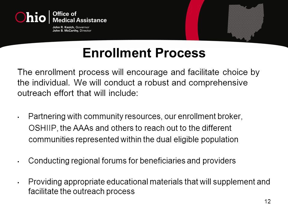 Enrollment Process 12 The enrollment process will encourage and facilitate choice by the individual.