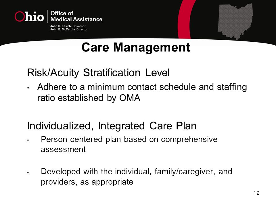 19 Risk/Acuity Stratification Level Adhere to a minimum contact schedule and staffing ratio established by OMA Individualized, Integrated Care Plan Person-centered plan based on comprehensive assessment Developed with the individual, family/caregiver, and providers, as appropriate Care Management