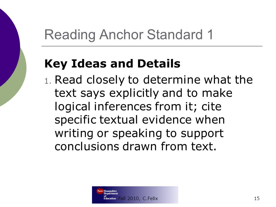 Reading Anchor Standard 1 Key Ideas and Details 1.