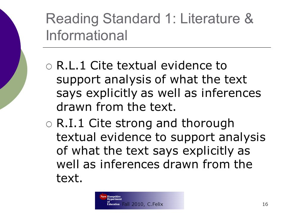 Reading Standard 1: Literature & Informational  R.L.1 Cite textual evidence to support analysis of what the text says explicitly as well as inferences drawn from the text.