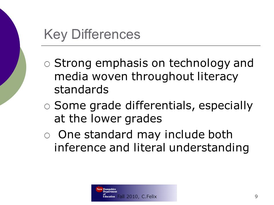 Key Differences  Strong emphasis on technology and media woven throughout literacy standards  Some grade differentials, especially at the lower grades  One standard may include both inference and literal understanding 9Fall 2010, C.Felix