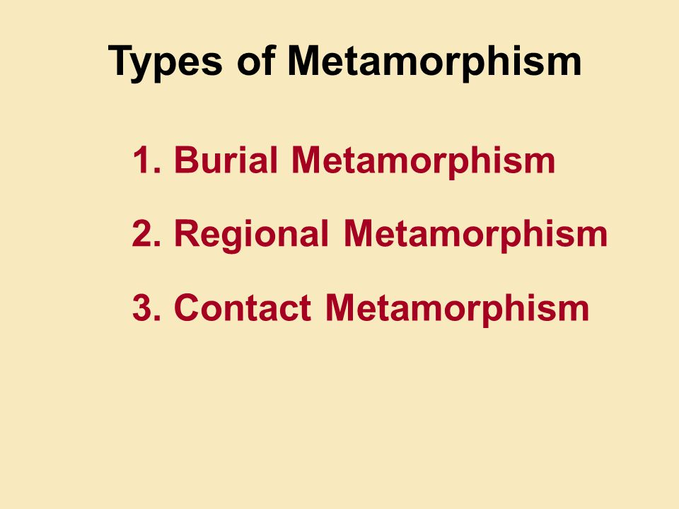 Types of Metamorphism 1. Burial Metamorphism 2. Regional Metamorphism 3. Contact Metamorphism