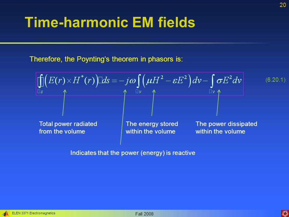 ELEN 3371 Electromagnetics Fall Time-harmonic EM fields Therefore, the Poynting's theorem in phasors is: (6.20.1) Total power radiated from the volume The power dissipated within the volume The energy stored within the volume Indicates that the power (energy) is reactive