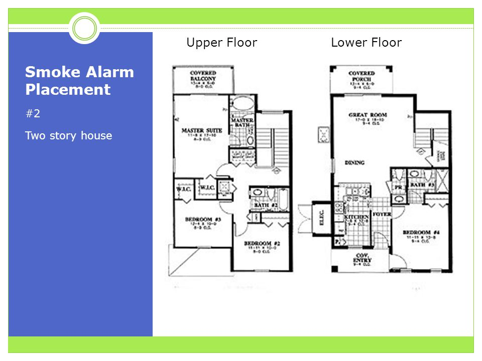 Smoke Alarm Placement #2 Two story house Upper Floor Lower Floor