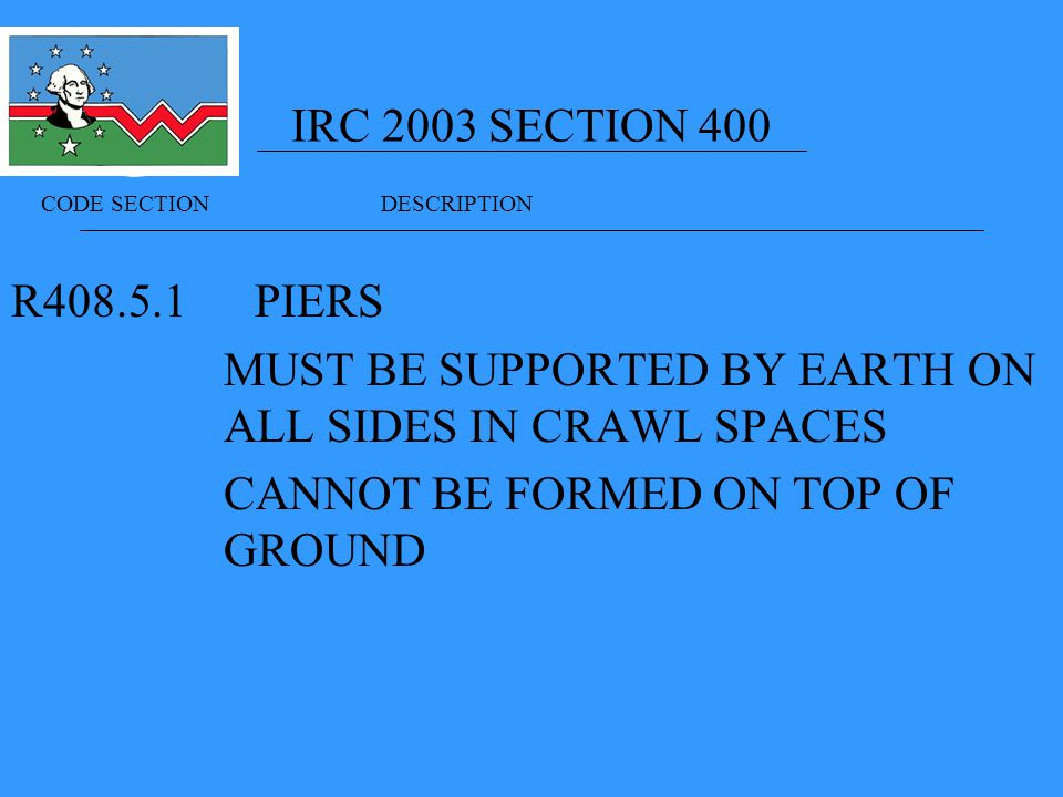 IRC 2003 SECTION 400 R PIERS MUST BE SUPPORTED BY EARTH ON ALL SIDES IN CRAWL SPACES CANNOT BE FORMED ON TOP OF GROUND CODE SECTION DESCRIPTION
